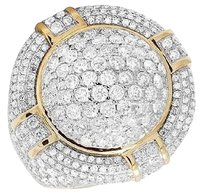 Other Real Diamond 3d Round Puff Dome Pillow 14k Yellow Gold Mens Pinky Ring 5.75ct