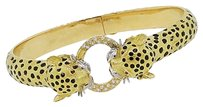 18k Yellow Gold Ruby Diamond Enamel Panther Bangle