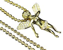 Sterling Silver Lab Diamond Angel Charm Chain In Yellow Gold Finish 1.75
