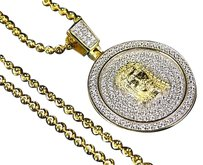 Sterling Silver Lab Diamond Jesus Medallion Chain In Yellow Gold Finish 1.25