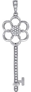 Ladies Sterling Silver Lab Diamond Key To Success Pendant In White Gold Finish