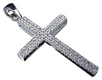 Sterling Silver Lab Diamond Two Row Cross Pendant In White Gold Finish 1.50