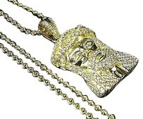 Sterling Silver Lab Diamond Pave Style Jesus Charm Chain In Yellow Gold Finish