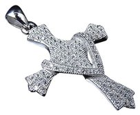 Other Sterling Silver Lab Diamond Anointed Cross Pendant In White Gold Finish 1.5