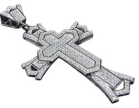Sterling Silver Lab Diamond Christian Cross Pendant Charm In White Gold Finish