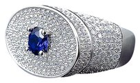Other Sterling Silver Simulated Diamond Blue Solitaire Ring In White Gold Finish 25mm