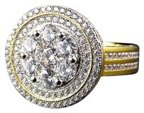 Simulated Diamond 3d Cluster Disc Design Ring In Yellow Gold Finish 20mm