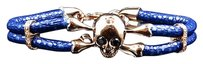 Other Rose Gold Finish Simulated Lab Diamond Blue Leather Skull Band Bracelet In 8