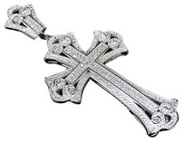 Other 925 Sterling Silver Lab Diamond X Style Micro Pave Cross In White Gold Finish 3
