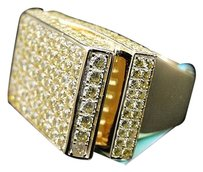 Mens 925 Sterling Silver Yellow Simulated Diamond 3d Pave Pinky Fashion Ring