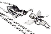 Stainless Steel Lab Diamond Payer Angel Rosary In White Gold Finish 20