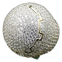 Mens 925 Sterling Silver Yellow Finish Iced Out Simulated Diamond 3d Dome Ring