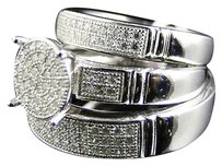 Other Real 925 Silver Simulated Lab Diamond Bridalengagement Ring Set In White Finish
