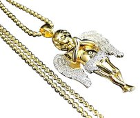Real Silver Ascending Angel Lab Diamond Pendant Chain Yellow Gold Finish