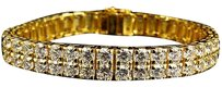 Other Mens Yellow Gold Sterling Silver Lab Diamonds Row Modish Bracelet 9mm 7.5