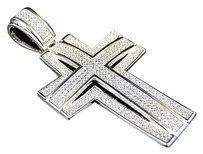 Sterling Silver Lab Diamond Layer Cross Pendant Charm In White Gold Finish