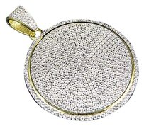 .925 Silver Lab Diamond Disc Style Medallion Pendant In Yellow Gold Finish 2