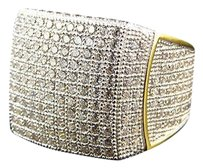 Other Mens Lab Diamond Curved Cut Style Fashion Pinky Ring In Yellow Gold Finish 23mm