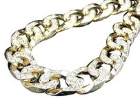 Mens Yellow Gold Finish Simulated Lab Diamond Iced Out Cuban Link Necklace Chain