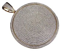 Mens Yellow Gold Sterling Silver Lab Diamond Round Medallion Charm Pendant 4.0