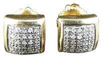 Mens Ladies Yellow Gold Finish Diamond Square Bezel Stud Earrings Mm