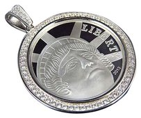 100 Sterling Silver Lab Diamond American Liberty Coin In White Gold Finish 2.0