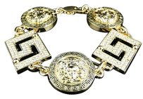 New Iced Out Mens Greek Design Medusa Head Coin Medallion Bracelet In Yellow