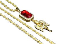 Fancy Mens Brass Yellow Gold Crystal Red Gemstone With Angel Piece Pendant 2.75