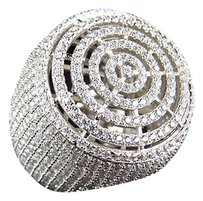 Mens Simulated Diamond Echo Round Micro Pave Ring In White Gold Finish 26mm