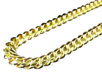 Sterling Silver Cuban Link Chain Necklace In Yellow Gold Finish 30-34 7mm