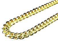 Other Sterling Silver Cuban Link Chain Necklace In Yellow Gold Finish 30-34 7mm