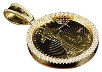 Mens Yellow Gold Sterling Silver Custom Lab Diamond Liberty Coin Pendant Bezel