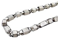 Mens White Gold Sterling Silver 3d Lab Diamond Bullet Chain Necklace 6mm 36