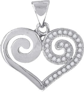 Ladies Sterling Silver Lab Diamond Hyono Heart Pendant Finished In White Gold