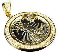 Other Yellow Gold Finish Simulated Diamond Lady Liberty Coin Pendant 1.5 2.8 Grams