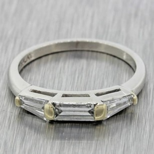 1960s Vintage Estate Solid Platinum .45ctw G Vs1 Baguette Diamond Band Ring