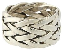 Woven Band - Sterling Silver Womens Ring 34