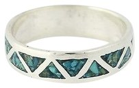 Turquoise Mosaic Band - Sterling Silver Womens Ring 34