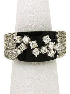 Other Estate 14kt White Gold 1.7ctw Diamond Onyx Band Ring