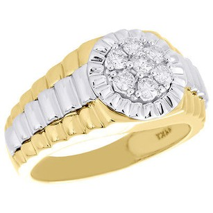 Other 14k Two Tone Gold Real Diamond Cluster Step Shank Ring Fluted Bezel Band 12 Ct.