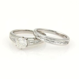 Other Round Cut 0.83ct Diamond Solitaire Ring With Matching Diamond Band Gia Certified