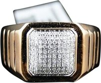 10k,Mens,Rose,Pink,Gold,Round,Cut,Diamond,Fashion,Band,Ring