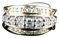 14k,Ladies,Yellow,Gold,3,Row,Round,Diamond,Channel,Wedding,Band,Ring,1,Ct