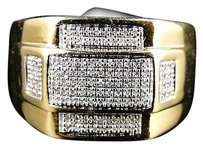 Mens,Yellow,Gold,Finish,Xl,Genuine,Round,Cut,Diamond,Band,Pinky,Ring,.50,Ct