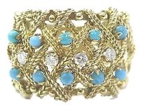 18kt,Turquoise,Diamond,Wide,Yellow,Gold,Band,Ring,.70ct,17.4mm,Sz,9