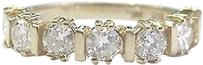Fine Round Cut Diamond 7-stone Bar Setting Band Ring Yellow Gold 1.00ct