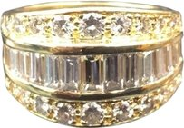 18kt,Baguette,Round,Diamond,Wide,Yellow,Gold,Jewelry,Ring,2.50ct