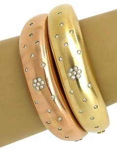 Magnificent 14kt Rose Yellow Gold 1ctw Diamonds Set Of Dome Style Bracelets