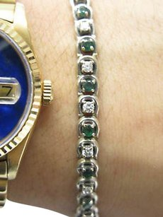 Fine,18kt,Gem,Emerald,Diamond,Tennis,Bracelet,2.50ct,