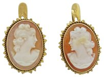 1890s Antique Victorian Estate 14k Solid Yellow Gold Carved Cameo Earrings